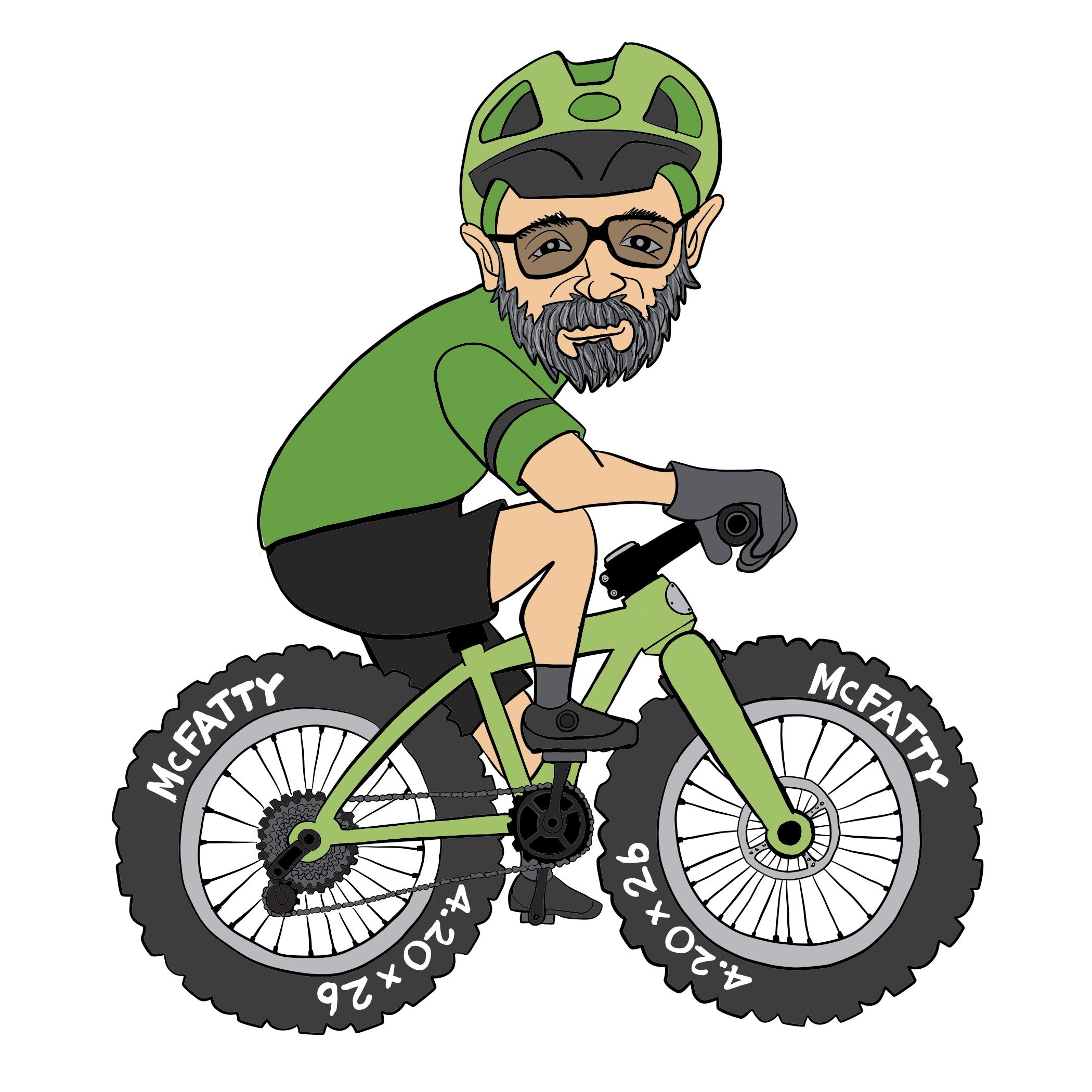 Freehand Mountain Biker Cartoon