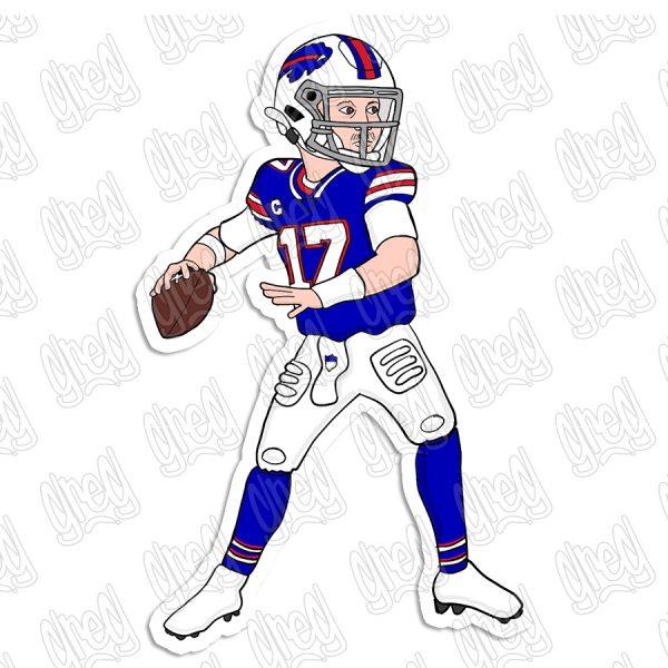Josh Allen cartoon sticker by Greg Culver and Hot Wing Designs