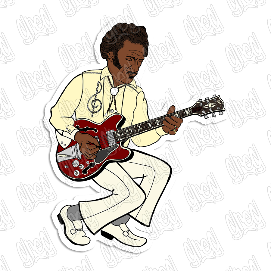 Chuck Berry Cartoon by Greg Culver
