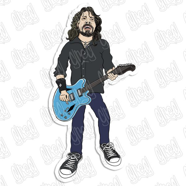 Dave Grohl cartoon sticker by Greg Culver and Hot Wing Designs