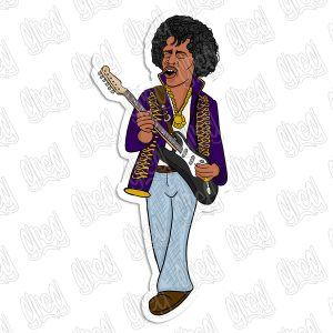 Jimi Hendrix cartoon sticker by Greg Culver and Hot Wing Designs