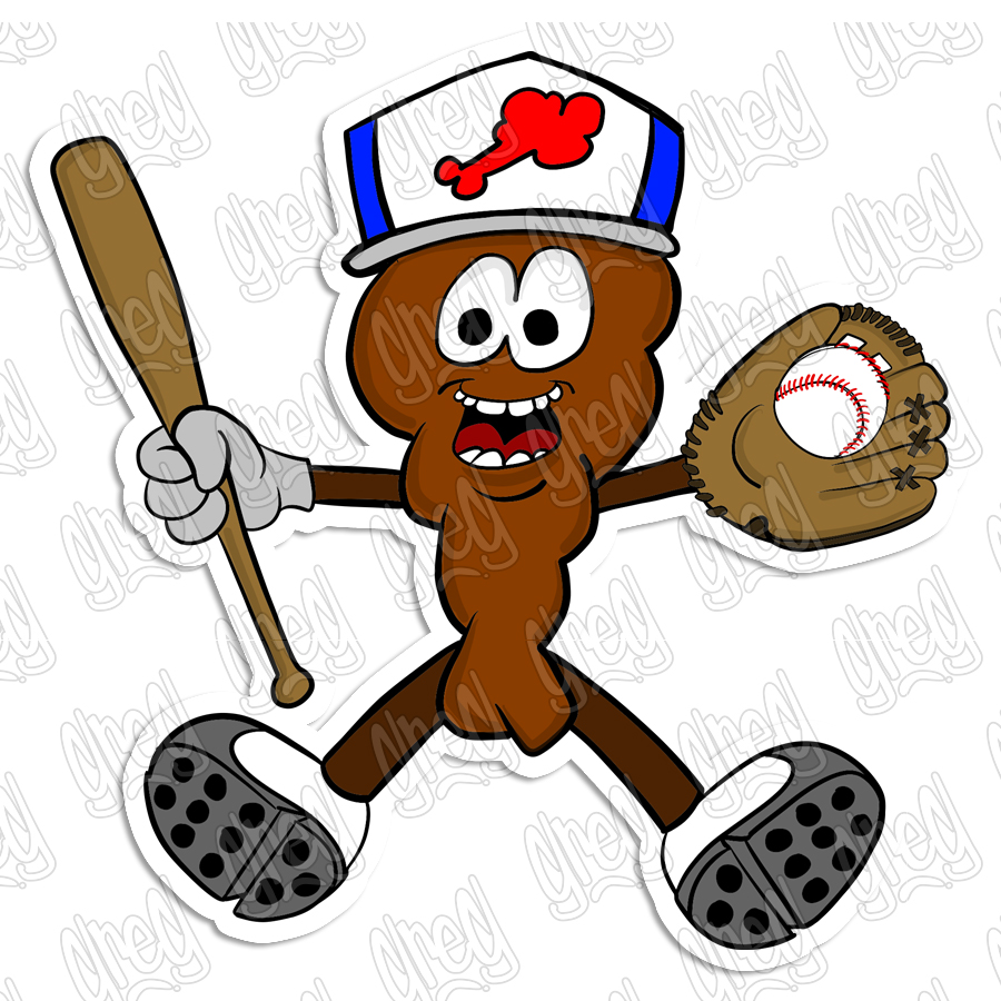 Baseball Wing cartoon sticker