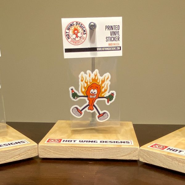 Hot Wing sticker display by Hot Wing Designs