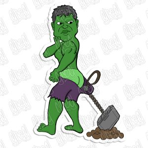 Hulk cartoon sticker by Hot Wing Designs.