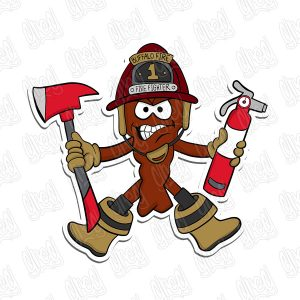 Fire Fighter Chicken Wing Cartoon