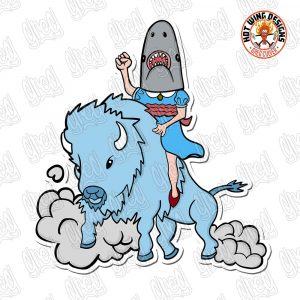 Shark Girl Rides Sticker